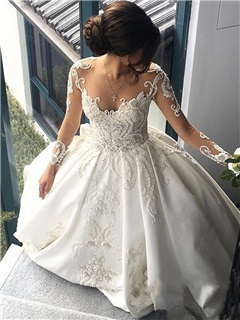 Long Sleeve Beaded Appliques Cathedral Train Wedding Dress 7
