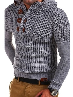 Stand Collar Solid Color Slim Pullover Men's Sweater