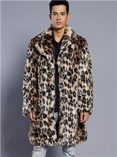 Lapel Leopard Print Color Block Mid-Length Men's Winter Overcoat 1
