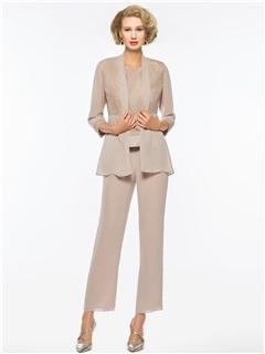 3 Pieces Lace Mother of the Bride Pantsuits with Jacket 5