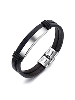 Double Layer Stainless Steel Leather Men's Bracelets 2