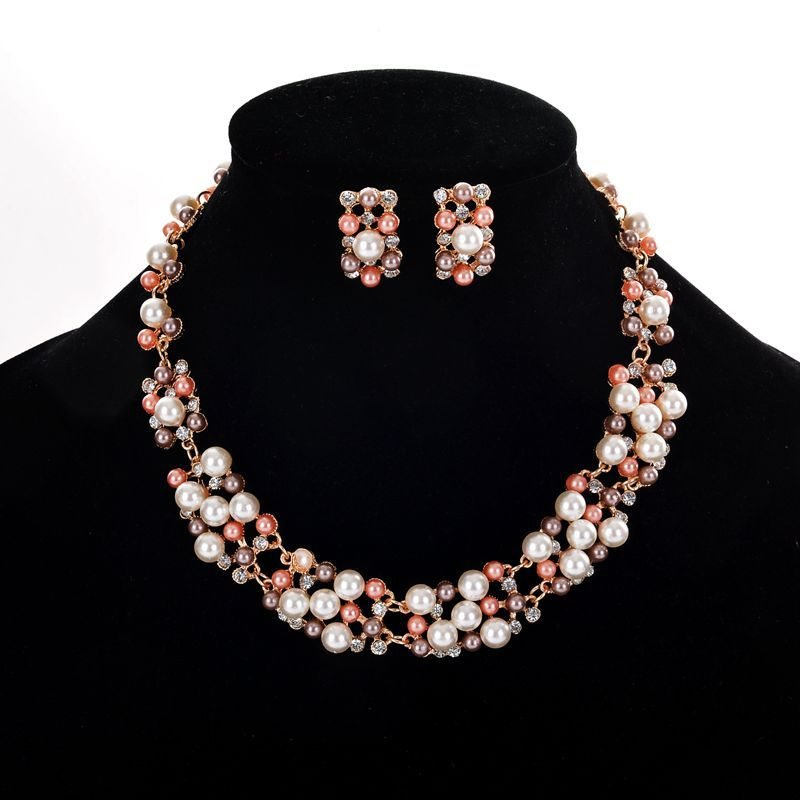 Pearls Diamante Wedding Bride Choker Necklaces Jewelry Sets
