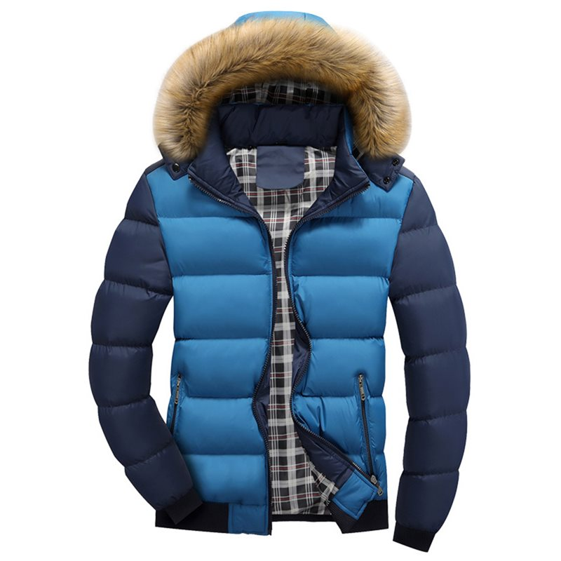 Tidebuy Hooded Solid Color Thick Mens Winter Jacket