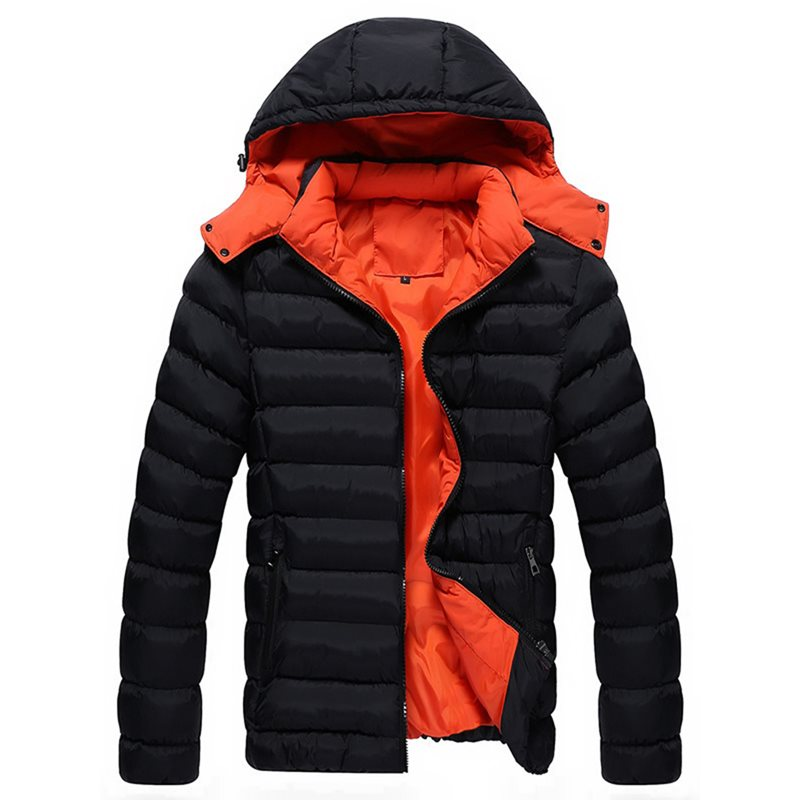 Hooded Color Block Slim Mens Winter Jacket