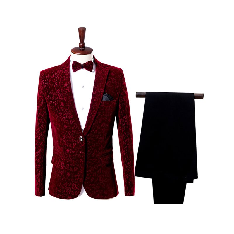 Print Blazer Pants Slim Fit Mens Two Pieces Dress Suit