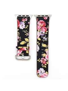 Apple Watch Band,Floral Genuine Leather iWatch 1/2/3 Smart Watch Strap for Wowen 4