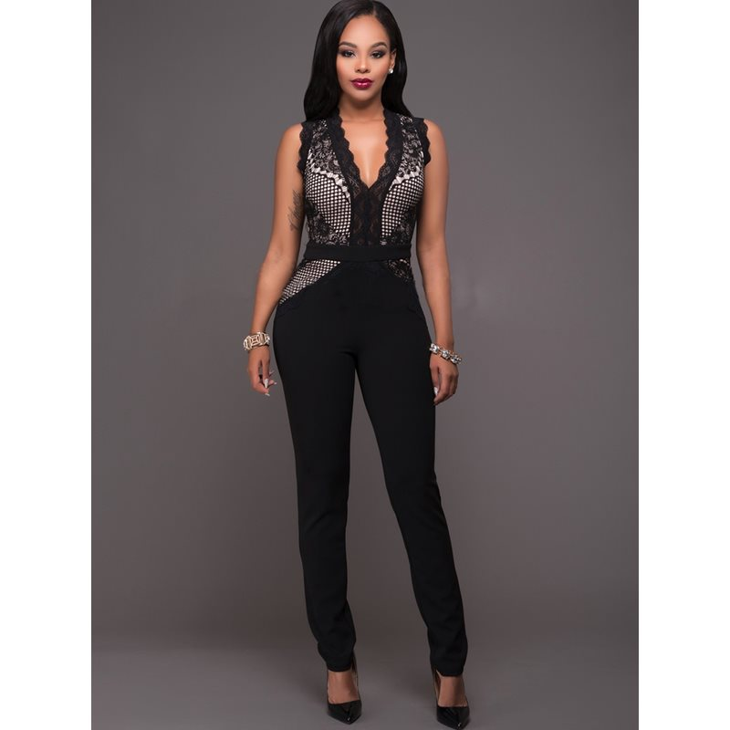 Lace Hollow Skinny Patchwork Womens Jumpsuit