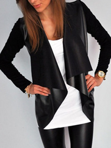 Black Lapel Wrapped Women's PU Jacket