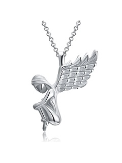 Новогодние ожерелья с надписью Christmas Overgild Angel's Shaped Silver Plated Pendant Necklace