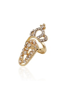 Hollow Out Diamante Crown Pattern Nail Ring