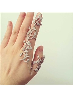 Flower Branch Hollowed Alloy Knuckle Joint Rings