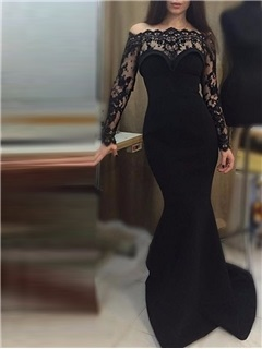 Elegant Off-the-Shoulder Long Sleeves Lace Evening Dress 6