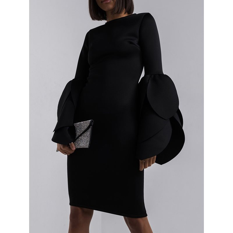 Black Plain Petal Sleeve Womens Bodycon Dress