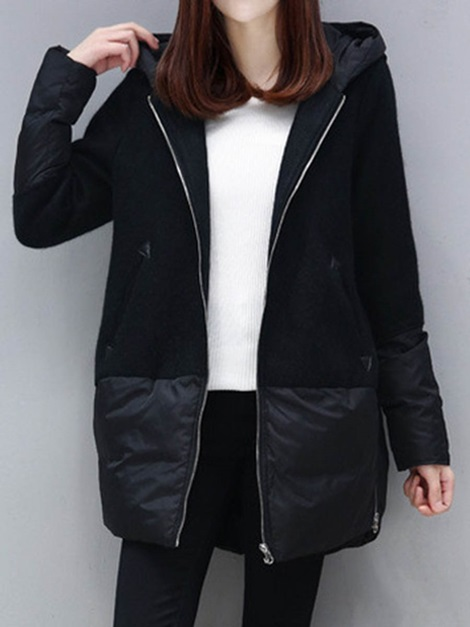 Plain Patcwork Hooded Pocket Zipper Women's Overcoat