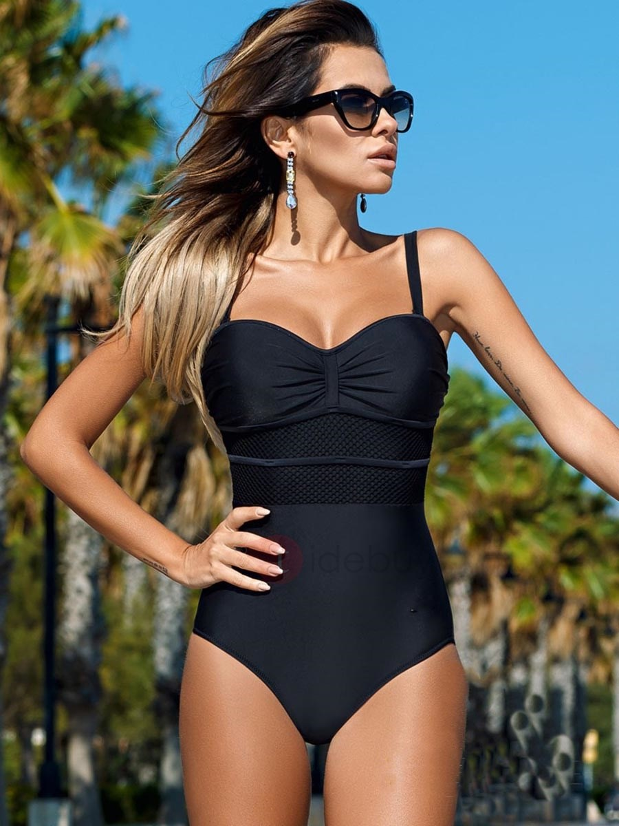 Image of Color Block Pleated Patchwork Monokini