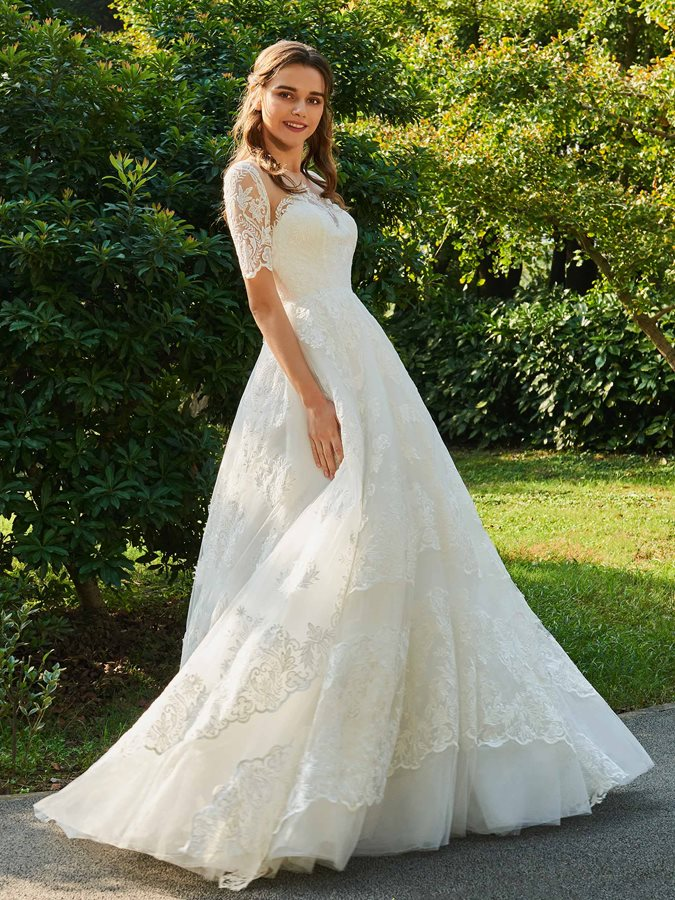 Buttoned Illusion Back Appliques Short Sleeve Wedding Dress