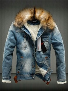 Tidebuy Faux Fur Hooded Button Men's Denim Jacket 86