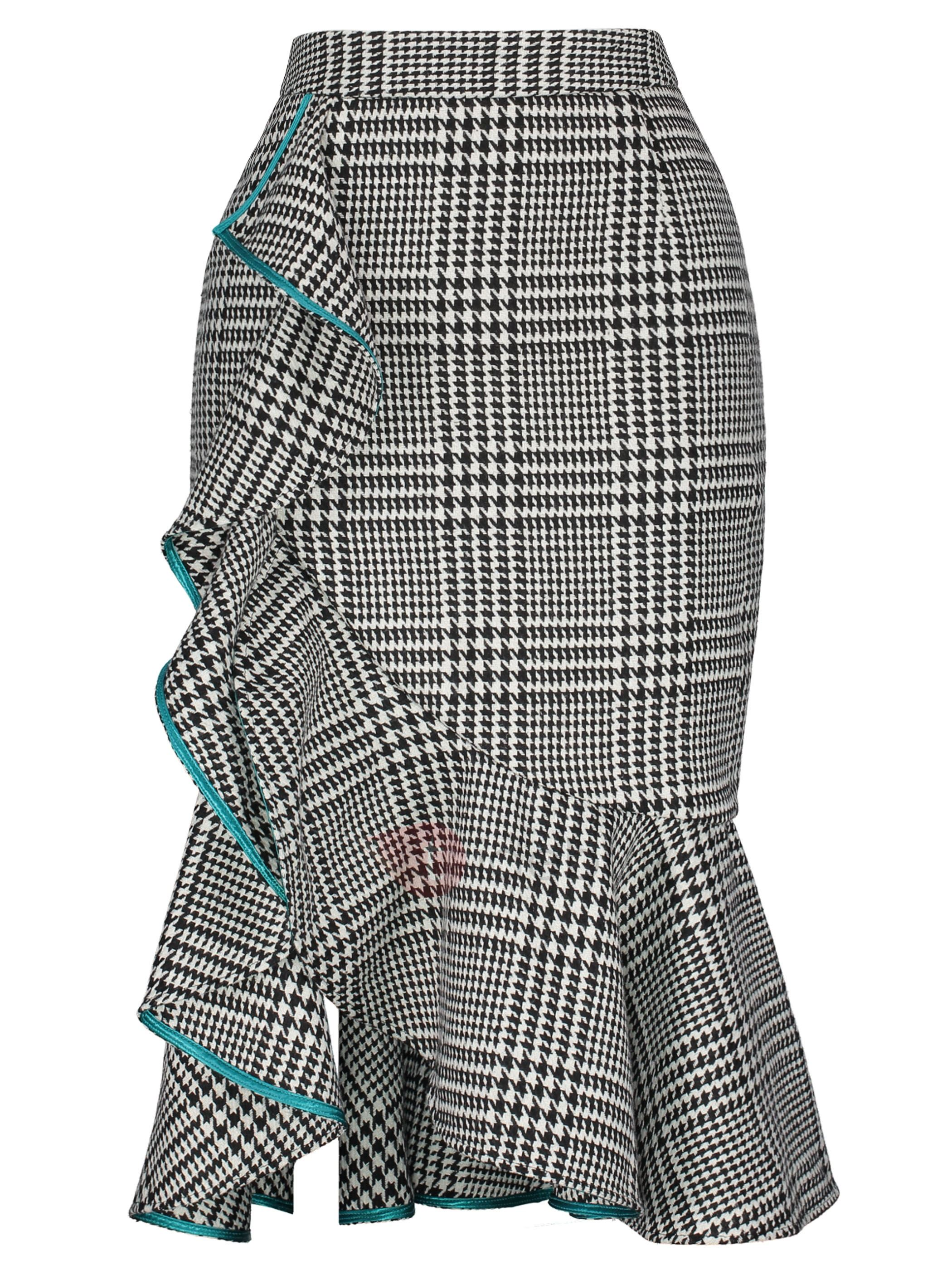 High-Waist Plaid Women's Skirt