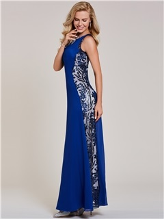 Scoop Neck Sequins Sheath Evening Dress 2