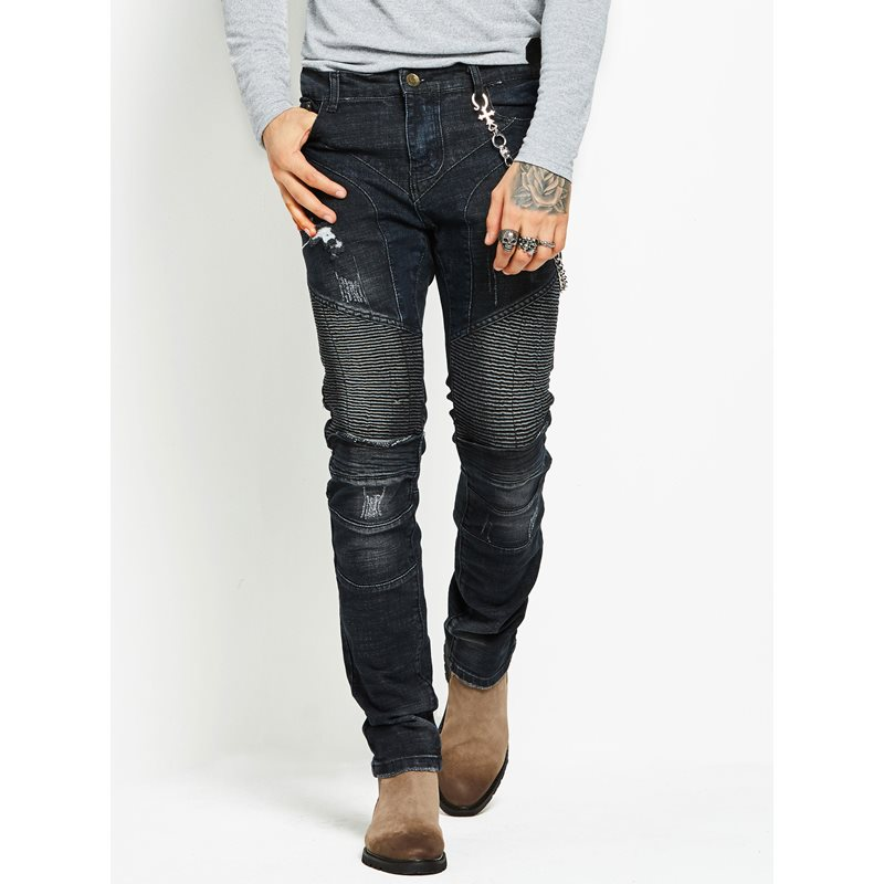 Solid Color Hole Slim Fit Mens Jeans