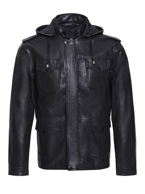 Stand Collar Hooded Pu Men's Leather Jacket