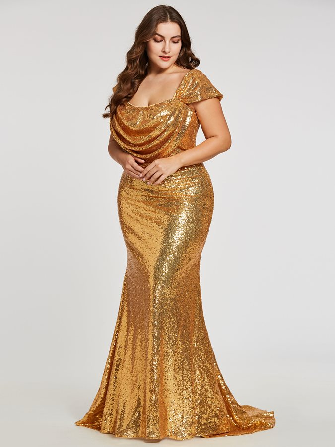 Square Sequins A Line Evening Dress
