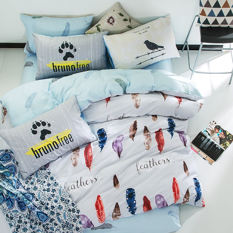 Wannaus Nordic Style Colorful Feathers Printed Cotton White Kids Duvet Covers/Bedding Sets