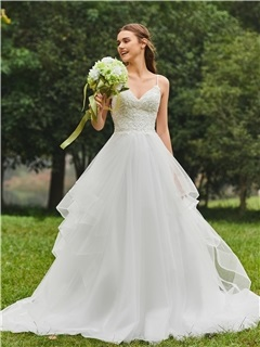 Spaghetti Straps Beaded Ball Gown Wedding Dress 7