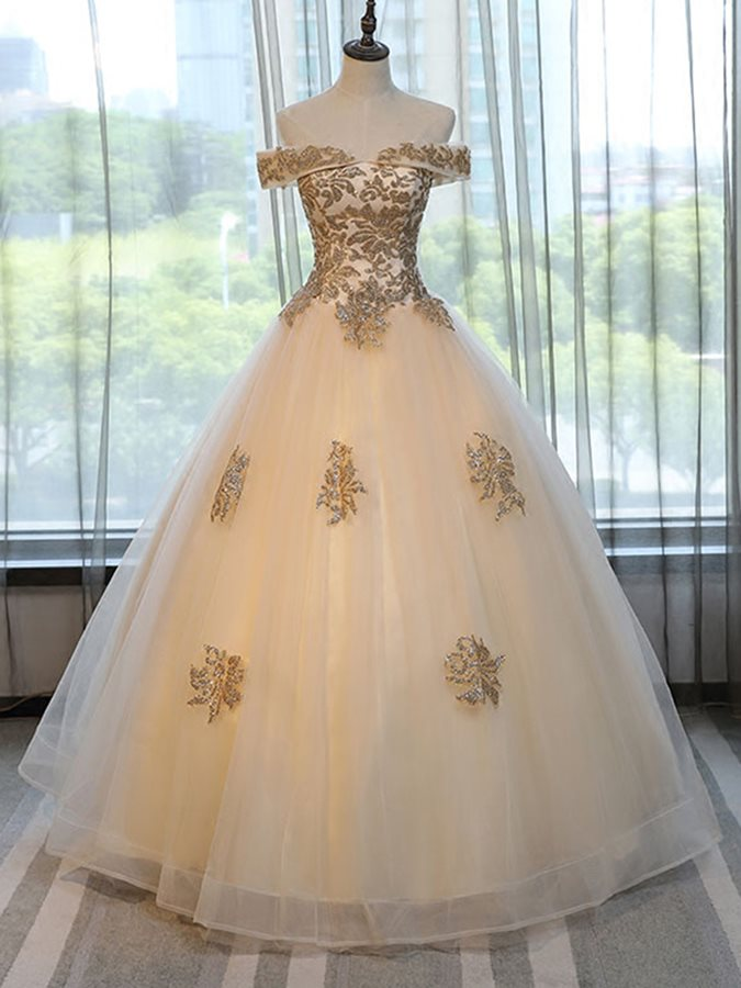 Beading Off-the-Shoulder Appliques Short Sleeves Quinceanera Dress