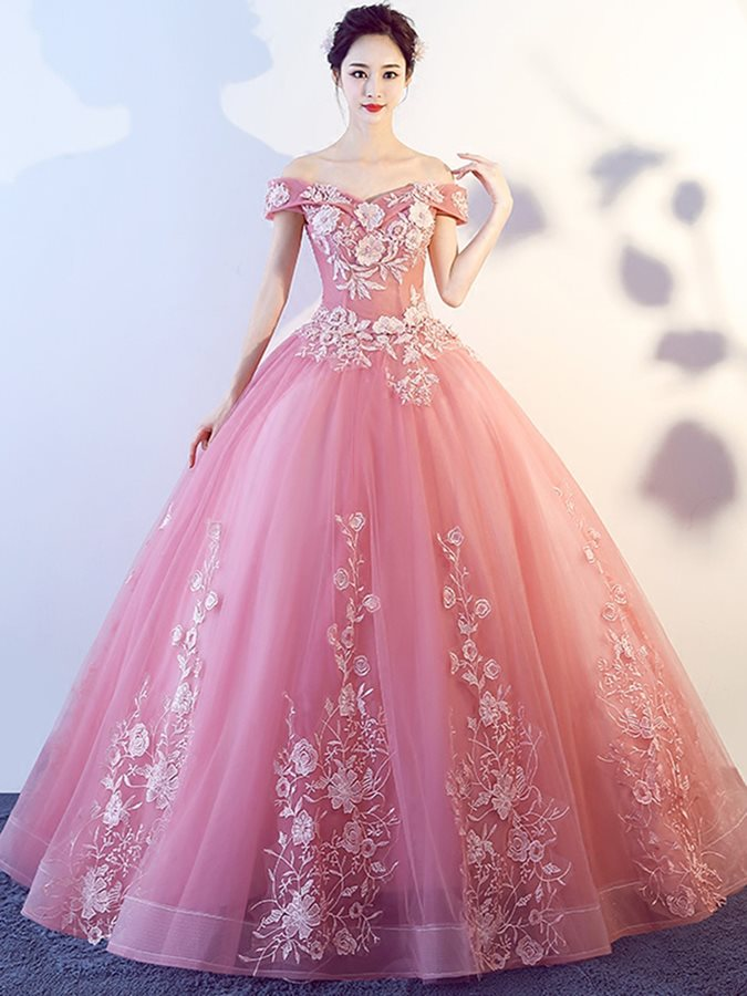 Ball Gown Appliques Off-the-Shoulder Quinceanera Dress