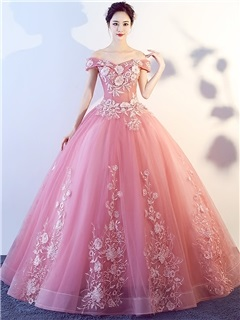 Ball Gown Appliques Off-the-Shoulder Quinceanera Dress 6