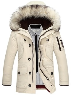 Winter Fur Hooded Plain Zipper Men's Down Coat 12
