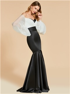 Mermaid Off-the-Shoulder White and Black Long Evening Dress 5