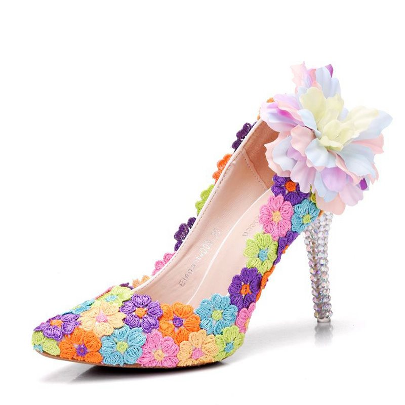 PU Slip-On Beads Rhinestone Floral Wedding Shoes