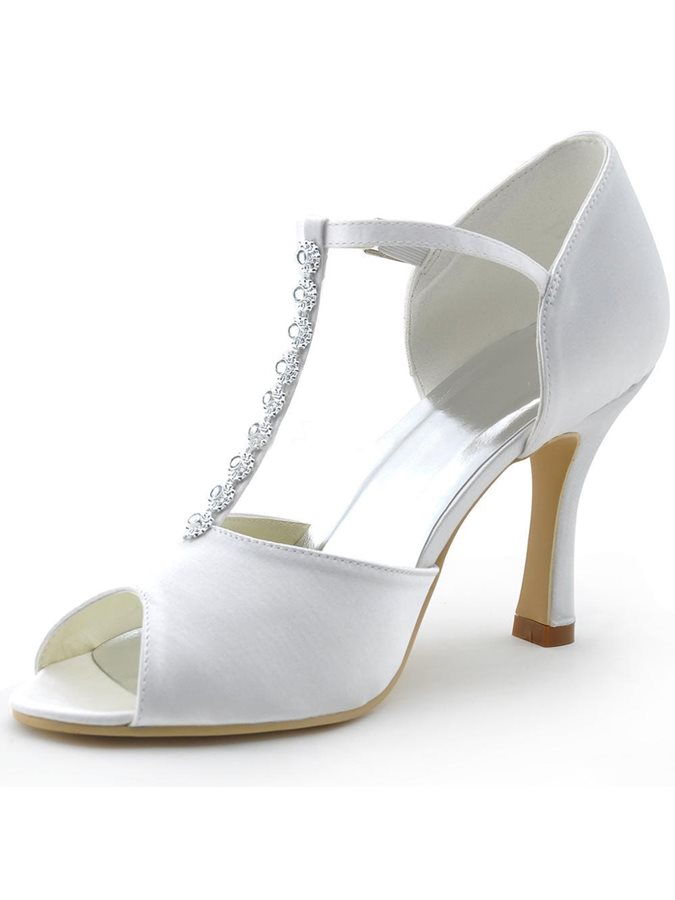 Silk Fabric Hollow T-Shaped Buckle Wedding Shoes