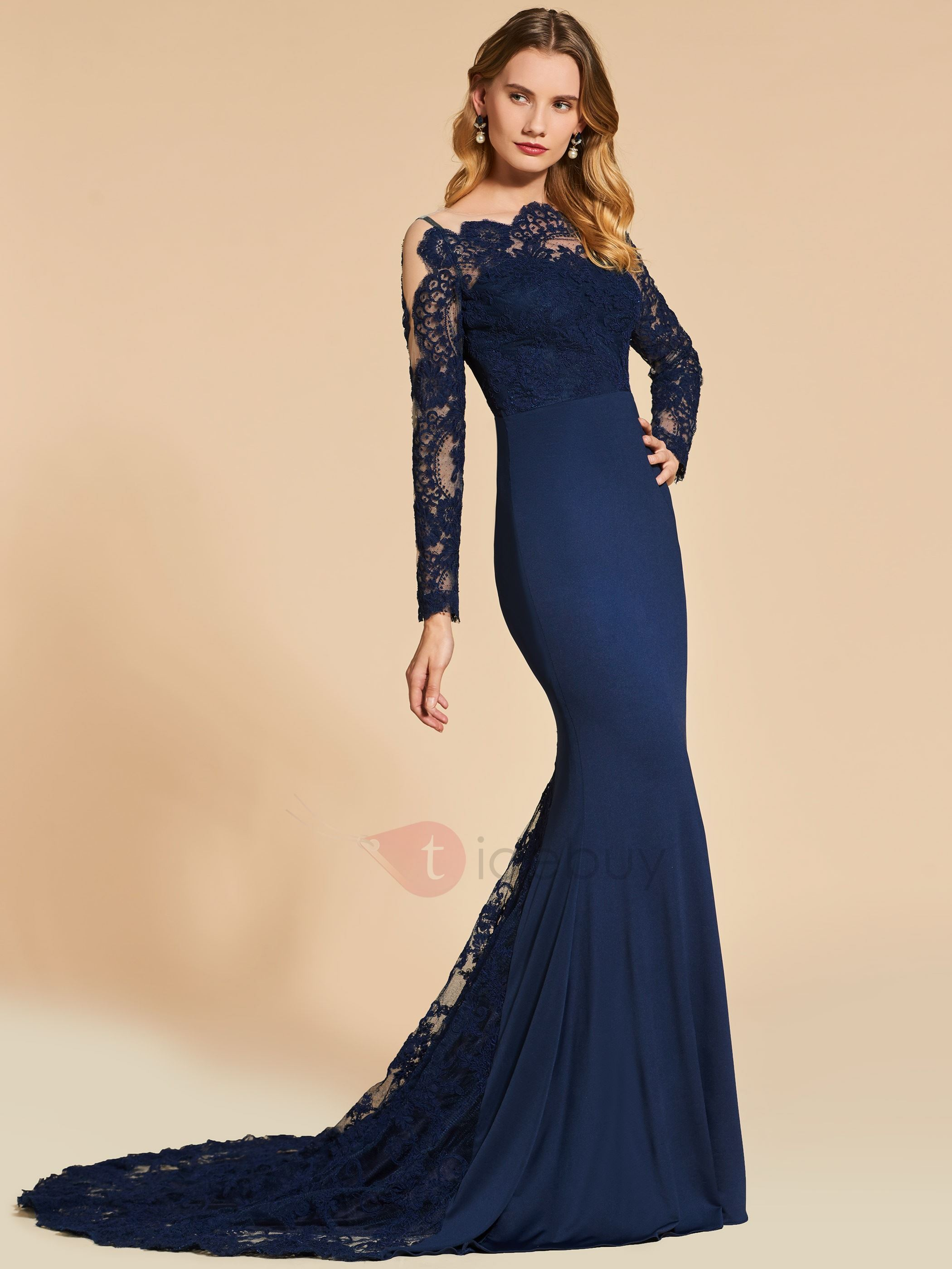 Scalloped-Edge Mermaid Long Sleeves Lace Evening Dress