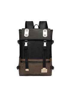 Belt-Decorated Color Block Oxford Backpack 1