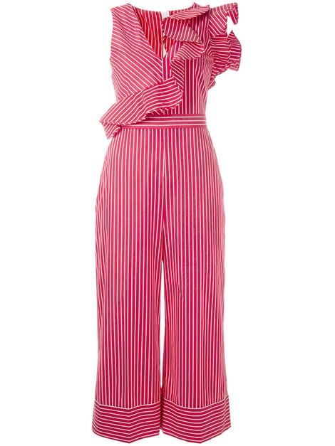 Falbala Stripe Wide Leg Sleeveless Women's Jumpsuit