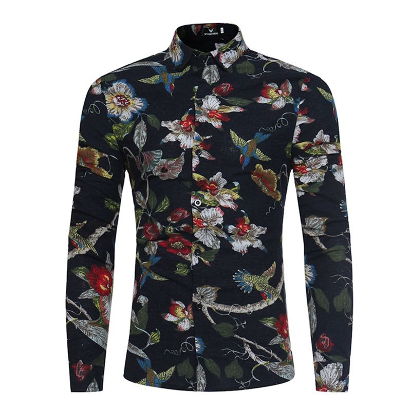 Tidebuy Lapel Floral Print Single-Breasted Mens Shirt
