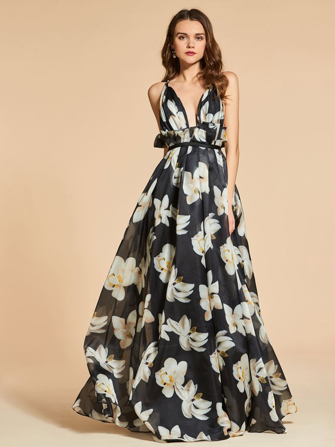 A-Line Spaghetti Straps Printed Evening Dress