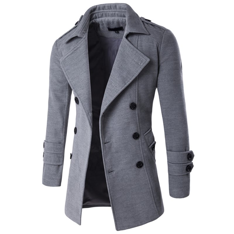 Tidebuy Plain Lapel Double-Breasted Mens Coat