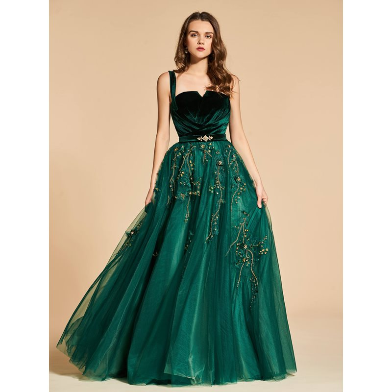 Empire A-Line Beading Lace Straps Evening Dress