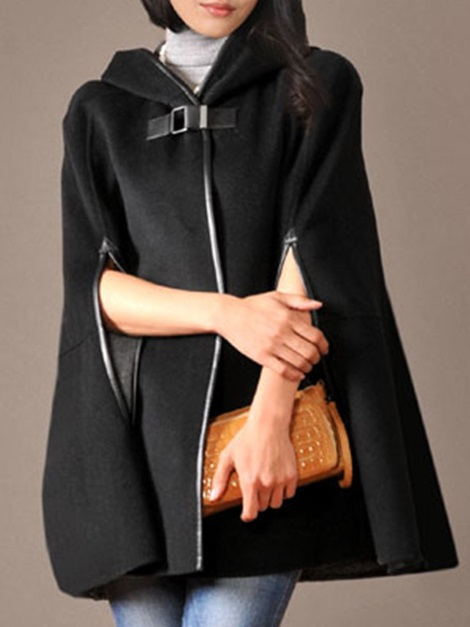 Hooded Plain One Button Thick Women's Cape