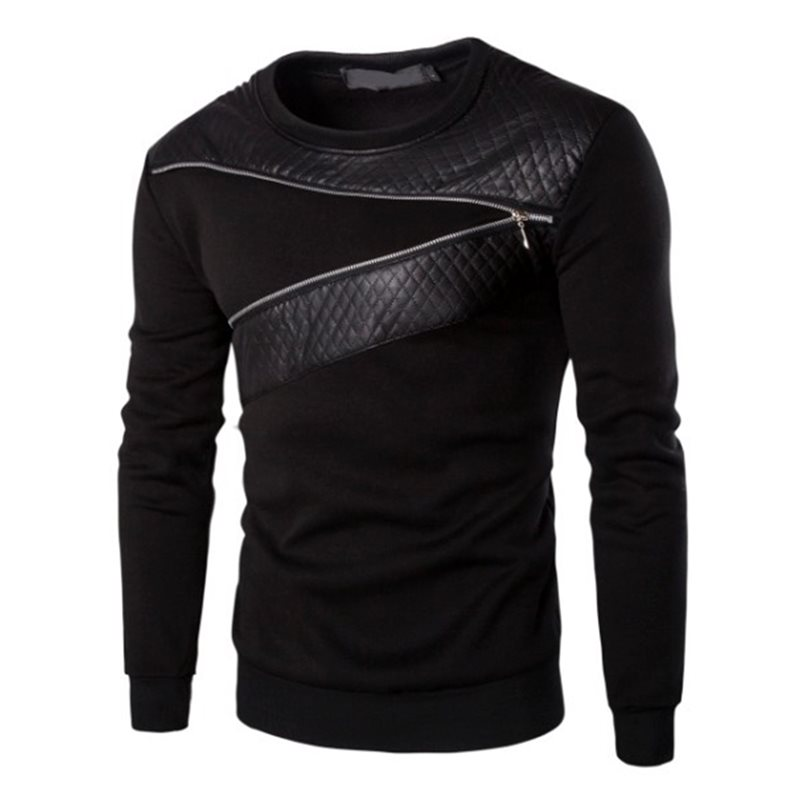 Tidebuy Round Neck Zipper Patchwork Mens Pullover Hoodie