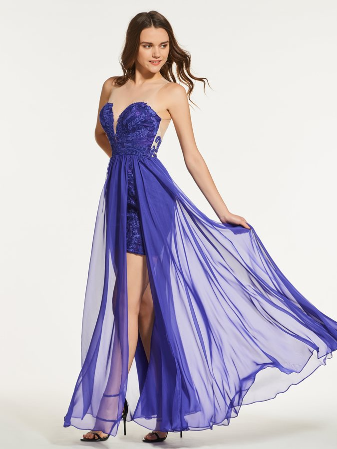 Sweetheart A-Line Lace Floor-Length Prom Dress