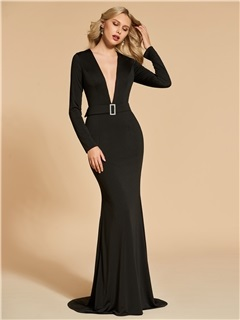 Long Sleeves V-Neck Trumpet Sweep Train Evening Dress 2