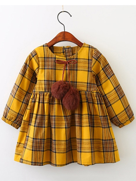 Plaid Lantern Sleeve Pullover Girl's Dress