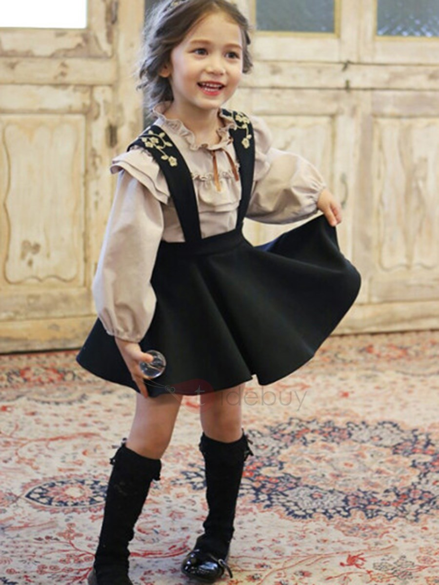 Image of Cute Plain Shirt & Suspenders Skirt Girls Outfit