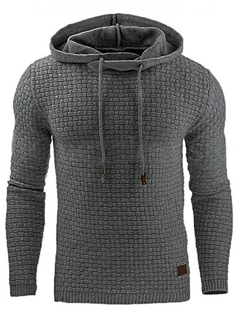 Hooded Lace-Up Plain Fashion Men's Hoodie