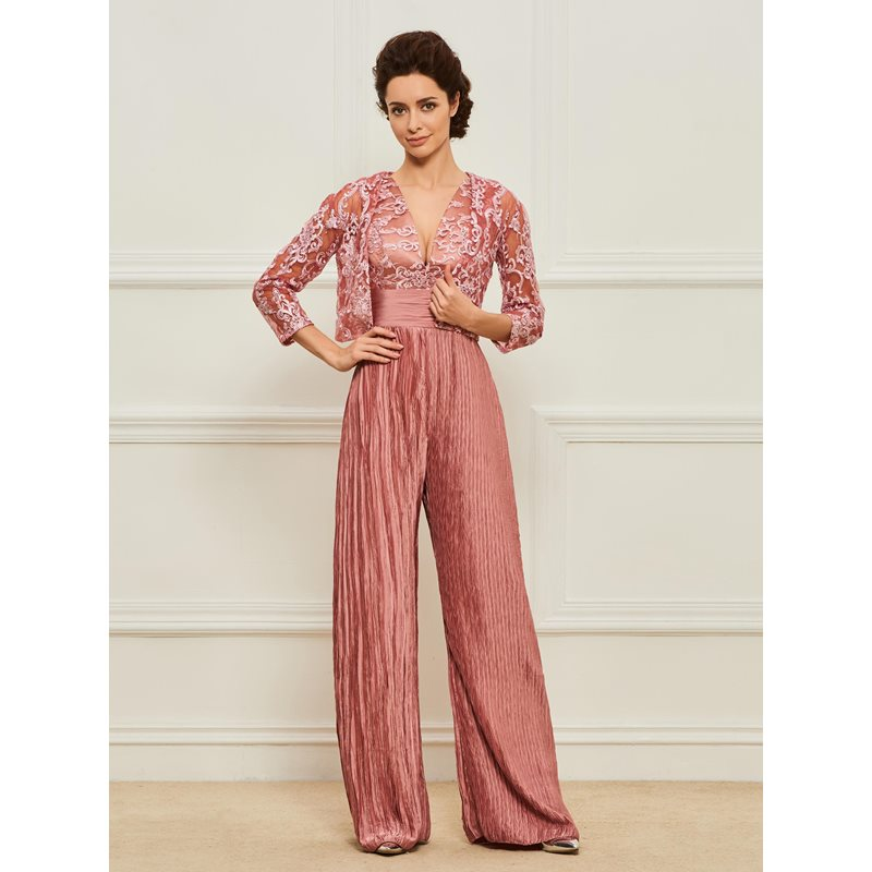 Appliques Plus Size Mother of the Bride Jumpsuits with Jacket фото